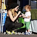 Selma Blair dipped in for some of Arthur Bleick's ice cream at the Farmers Market in LA on Sunday.