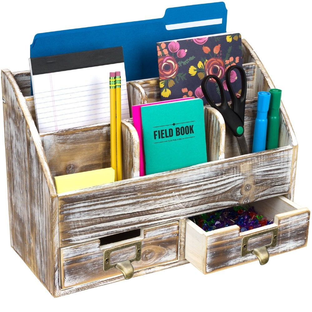Excello Global Products Rustic Wood Office Desk Organizer