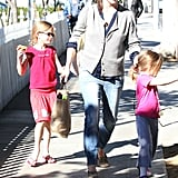 Jennifer Garner walked with the girls.