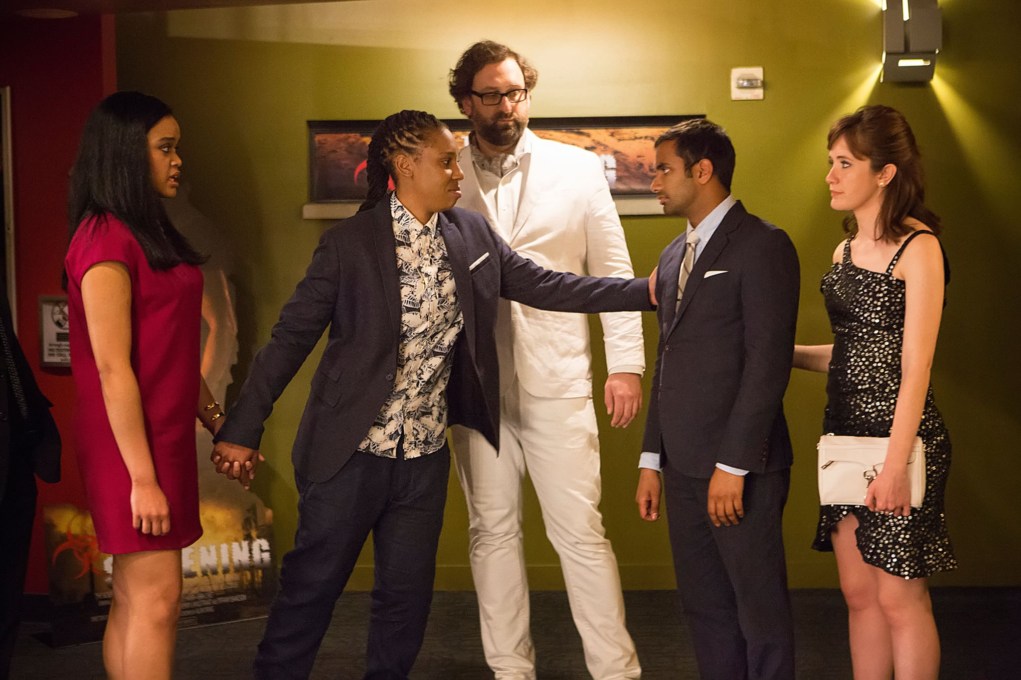 MASTER OF NONE, (from left): Danielle Davenport, Lena Waithe, Eric Wareheim, Aziz Ansari, Noel Wells, 'Mornings', (Season 1, ep. 109, airs Nov. 6, 2015). photo: K.C. Bailey / Netflix / Courtesy: Everett Collection