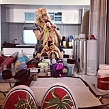 Erika Christensen took a mirror pic while getting her hair done in her trailer. Source: Instagram user erikachristensen