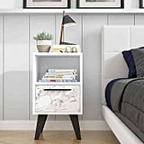Manhattan Comfort Amsterdam 1-Drawer Marble Front Nightstand in White