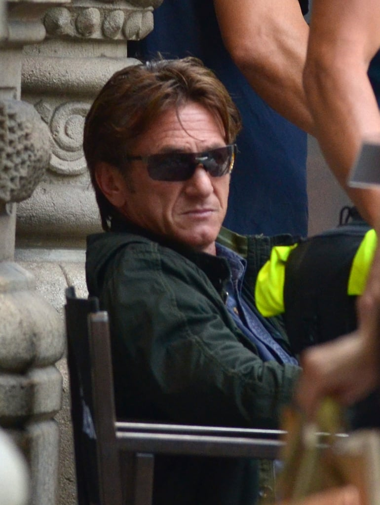Sean Penn filmed scenes for The Gunman in Barcelona on Wednesday.