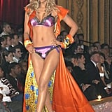 Tyra Banks sported a colourful getup in 2003.