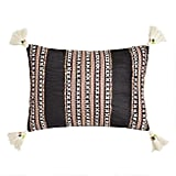 Black Velvet Embroidered Nora Lumbar Pillow