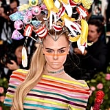 Cara Delevingne's Campy Headpiece and Extralong Ponytail, 2019