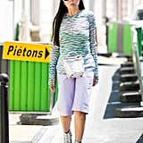 Channel a futuristic vibe with purple and blue pastels, mixed with bright whites and metallic silver accessories.