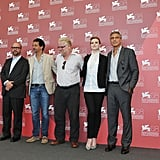 Paul Giamatti, George Clooney, Evan Rachel Wood, Philip Seymour Hoffman, and Grant Heslov in Italy.