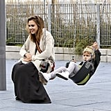 Jessica Alba on the swings with Honor.