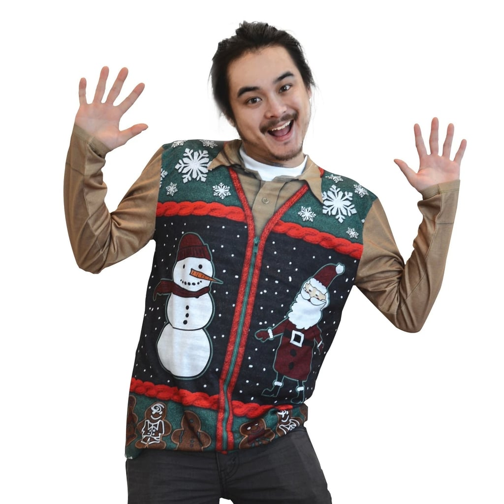 Mens Costume Ugly Christmas Zip Sweater Vest Long Sleeve Tee