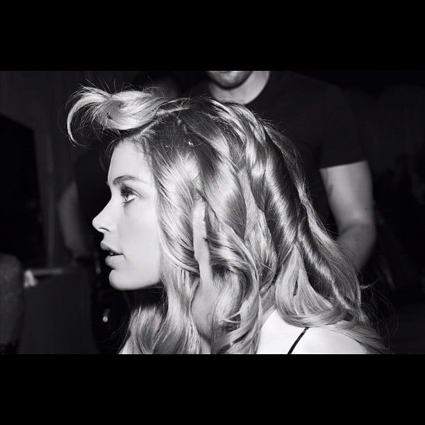 Doutzen Kroes had her hair curled for the show. Source: Instagram user victoriassecret