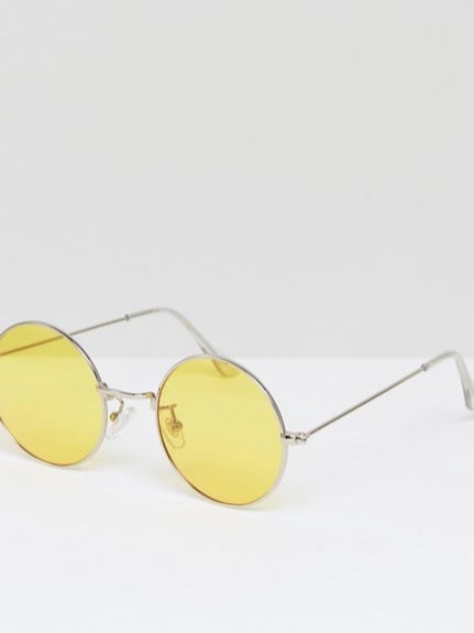 Jeepers Peepers Oversized Rounds with Yellow Lens, $36