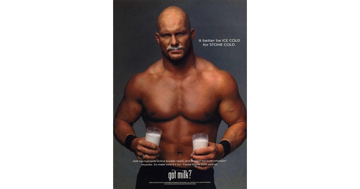 wrestler stone cold steve austin doubled up on glasses because vintage got milk ads popsugar celebrity photo 36