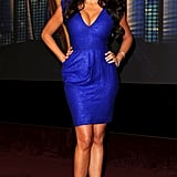 The brunette show-stopper electrified the 62nd Emmy Awards nomination announcements in a brilliant blue Lele Rose minidress and strappy black sandals.