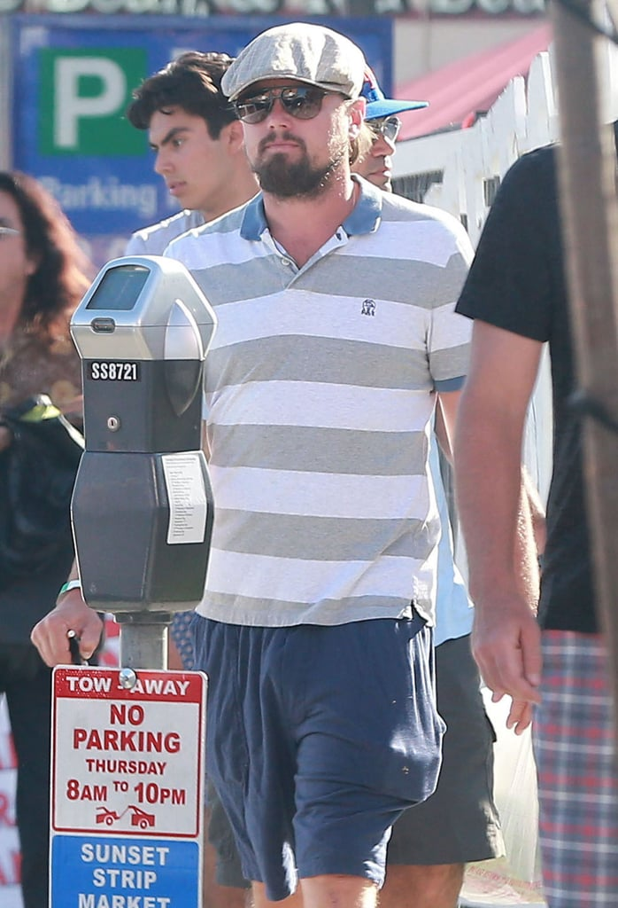 Leonardo DiCaprio walked around West Hollywood with friends on Thursday.