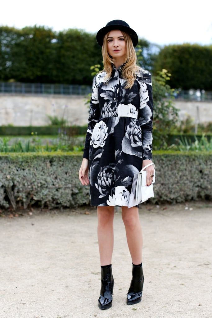 A black-and-white rose-print dress felt entirely artistic and pretty.