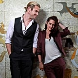 Kristen Stewart posed with Chris Hemsworth at a photo shoot for Snow White and the Huntsman in Sydney.