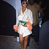 Naturally, our eyes gravitated toward the sleeves of Rihanna's silk robe by Prada in 2016. She completed the look with a pair of feather teal shoes and bedazzled Gucci sunglasses for the Met Gala afterparty.