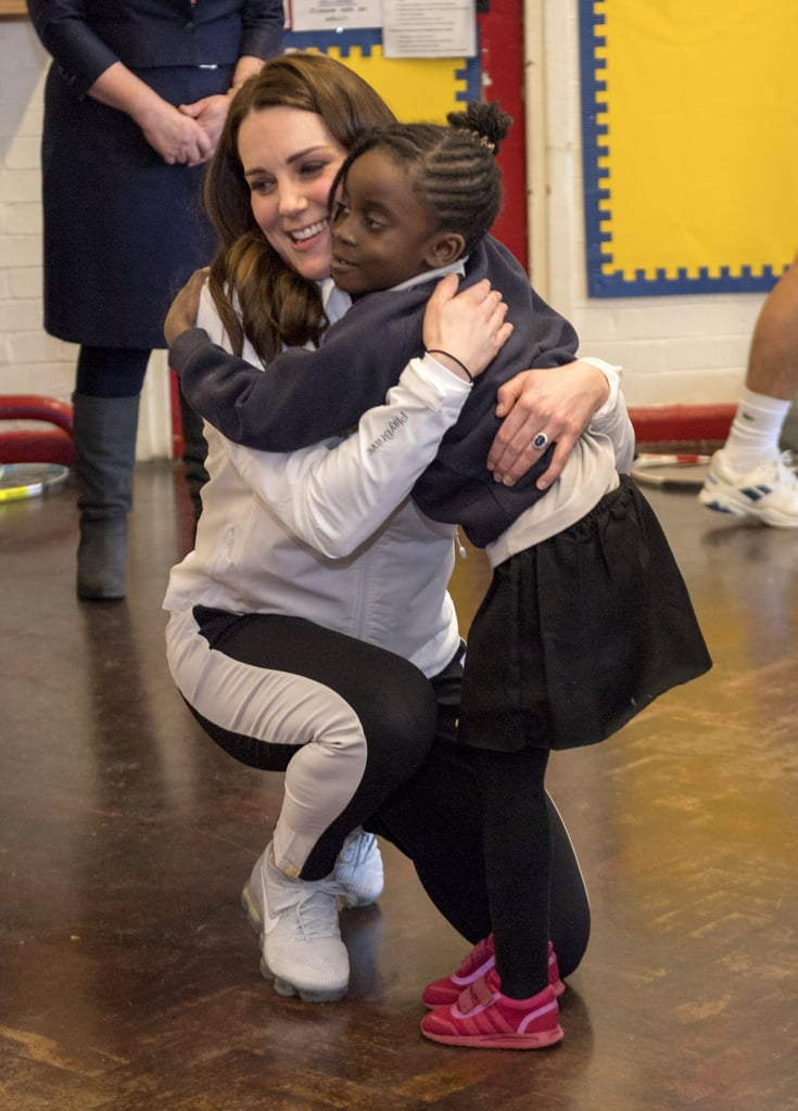 In January 2018, Kate embraced another young fan during a visit to Bond Primary School.