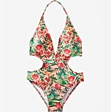 Express Tropical Floral Print Plunge Front Monokini ($75)