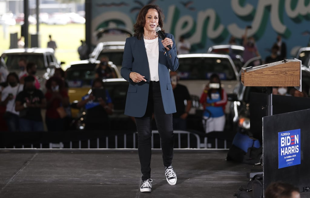 Kamala Harris Dances in the Rain Wearing Converse Sneakers