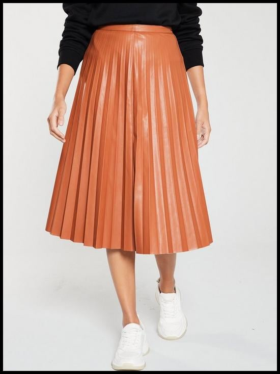 V by Very Faux Leather Pleated Midi Skirt