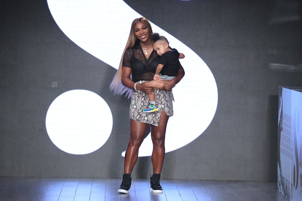 "Serena Williams's adorable daughter Alexis Olympia Ohanian Jr. made her runway debut on Tuesday, when she accompanied her mom for her final bow at the S by Serena Williams show during New York Fashion Week. Two-year-old Olympia looked a little shy as she cuddled in close to her superstar mom, who looked thrilled to be presenting her latest collection in front of a crowd that included friends like Ashley Graham and Kim Kardashian, showing their support from the front row. The mom-and-daughter pair dressed in matching ensembles for the occasion, with Olympia's grey shorts and black tee the perfect kid-friendly alternatives to her mom's snakeskin miniskirt and sheer blouse. At the close of an inclusive show that celebrated ""women who turn fear into courage and doubt into confidence,"" it was fitting that Serena chose the moment to introduce a member of the next generation of inspirational women. Keep reading to see the sweet photos."