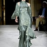 A Metallic Dress Over Pants on the Christian Siriano Runway during New York Fashion Week