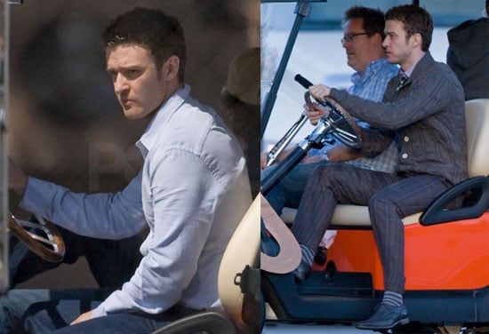 Photos of Justin Timberlake Arriving in a Golf Cart on the Set of Bad Teacher