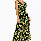 Topshop Lemon Print Bias Midi Dress
