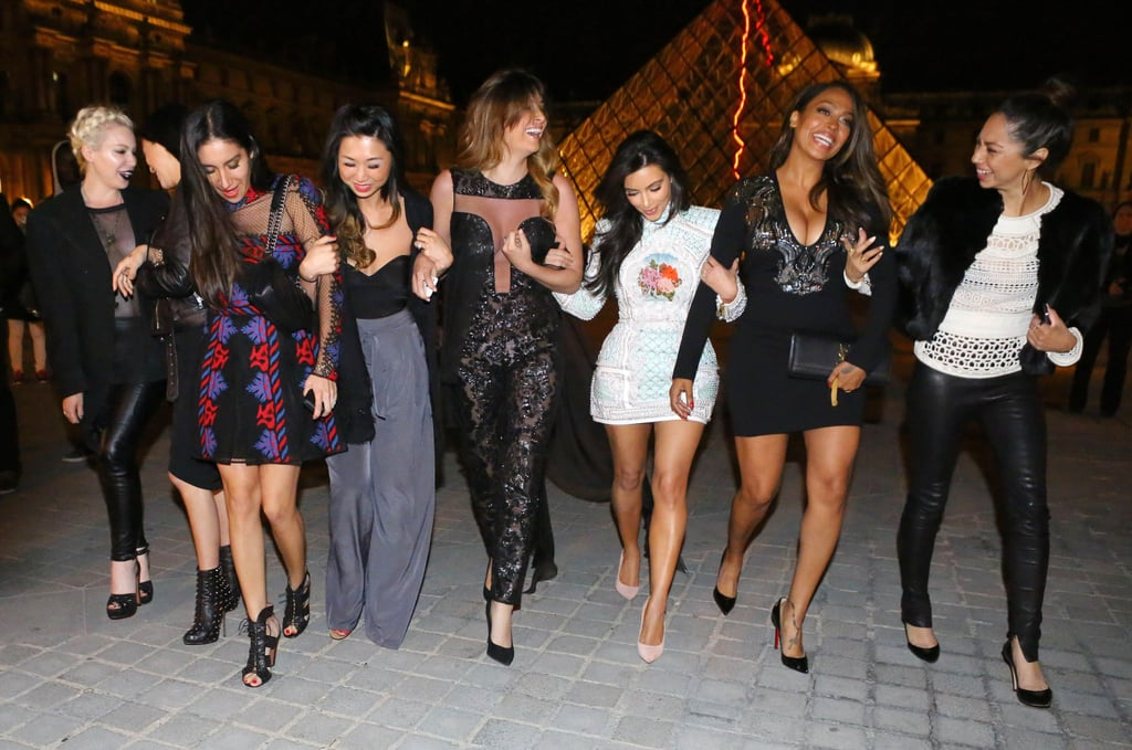 Kim Kardashian celebrated her second-to-last day as a single woman with a girls-only night on the town in Paris.