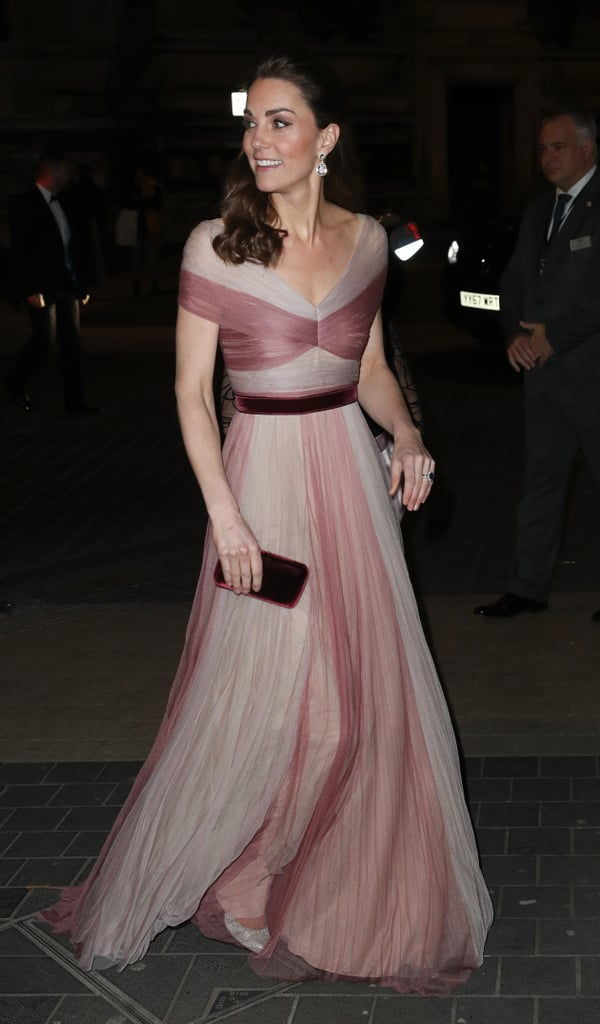 Kate Middleton is keeping the stunning appearances coming! After having a fancy date night with Prince William at the BAFTAs, the Duchess of Cambridge got all dolled up as she attended the 100 Women in Finance gala dinner on Wednesday. Kate looked like pretty in pink as she donned a Gucci gown and matching earrings. The proceeds from the gala will go towards Mentally Healthy Schools, a program Kate launched last year through Heads Together.  Earlier on Wednesday, the mother of three attended The Royal Foundation's Mental Health in Education conference to discuss how to bring more awareness to mental health issues in schools. See even more of Kate's lovely appearance ahead!       Related:                                                                                                           Kate Middleton Is Hitting the Ground Running in 2019 — See Her Best Moments So Far