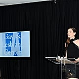 Anne Hathaway spoke at a benefit in LA.