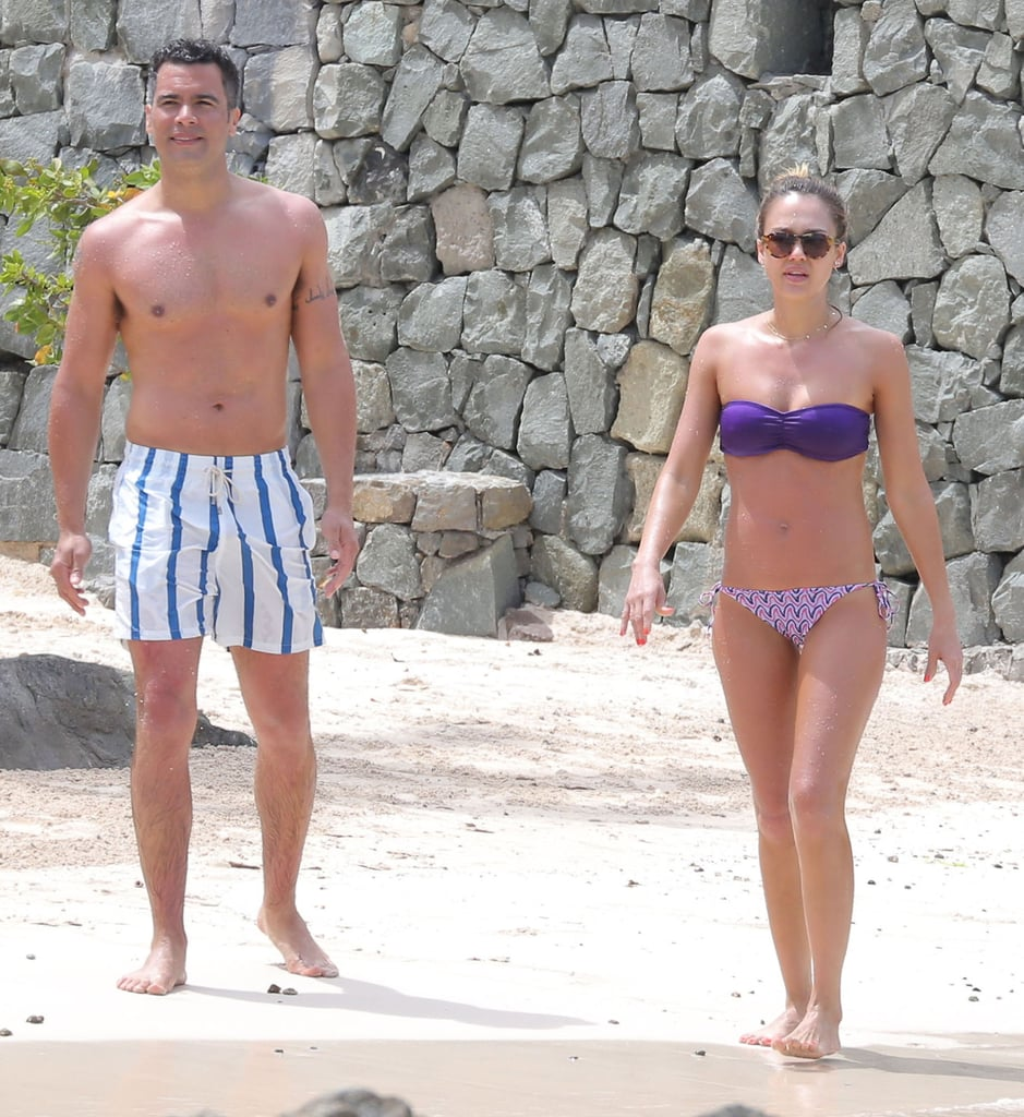 Jessica and Cash walked along the sand in St. Barts in April 2013 while vacationing with a few friends.