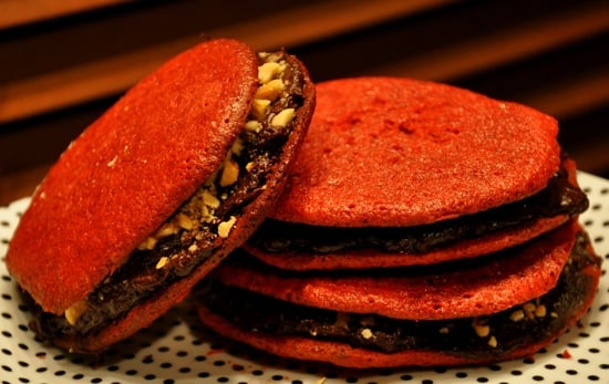 Red Velvet Cookies With Dark Chocolate Cream Cheese Frosting and Roasted Hazelnuts