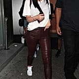 Style Your T-Shirt With: Leather Pants and Sneakers