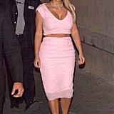Kim Kardashian in Pink Crop Top and Pencil Skirt