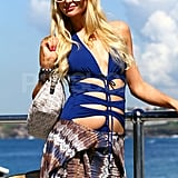 Paris Hilton posed in her blue cut-out swimsuit at Bondi Beach in Australia.