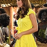 Kate Middleton wore a bright yellow dress in the Solomon Islands.