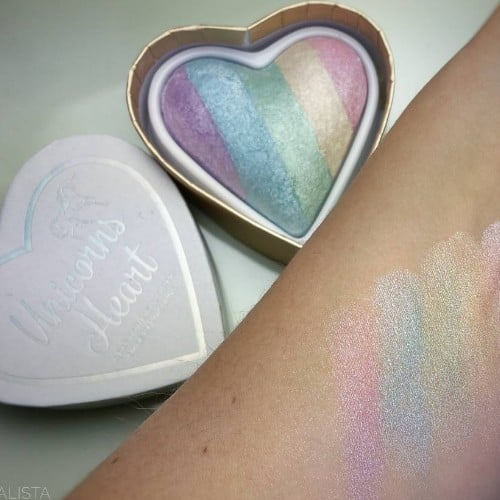 I Heart Makeup Unicorns Heart Rainbow Highlighter Swatches