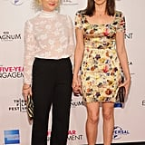 Amy Poehler and Aubrey Plaza held hands on the red carpet of  The Five-Year Engagement premiere during the 2012 Tribeca Film Festival.