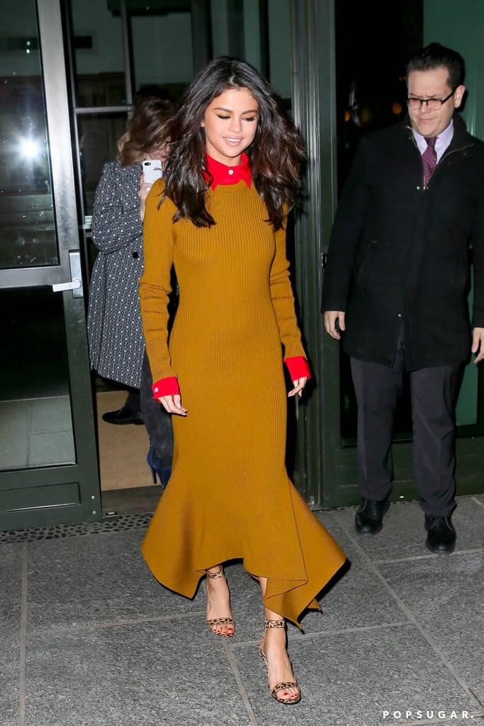 Selena Gomez Victoria Beckham Dress in New York Feb  2017