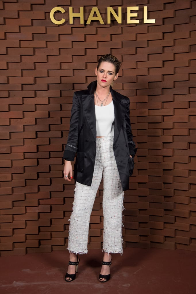 Kristen Stewart Wore a Luxe Blazer and Feathered Trousers