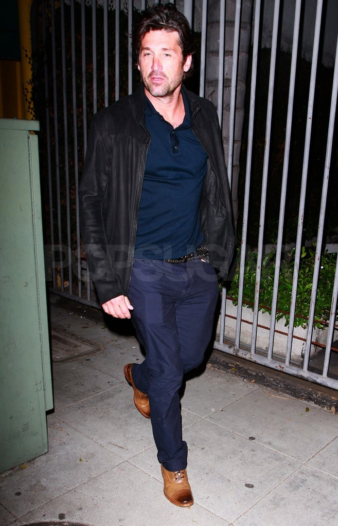 Patrick Dempsey mixed dark hues black and blue for his dinner date.