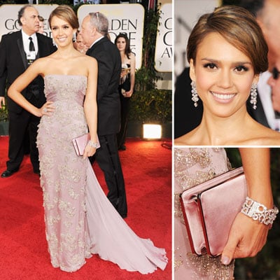Jessica Alba Wears Blush Gucci Dress and Bulgari Jewellery at the 2012 Golden Globes