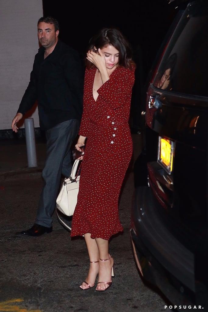 Selena Gomez Wearing Red Rouje Dress
