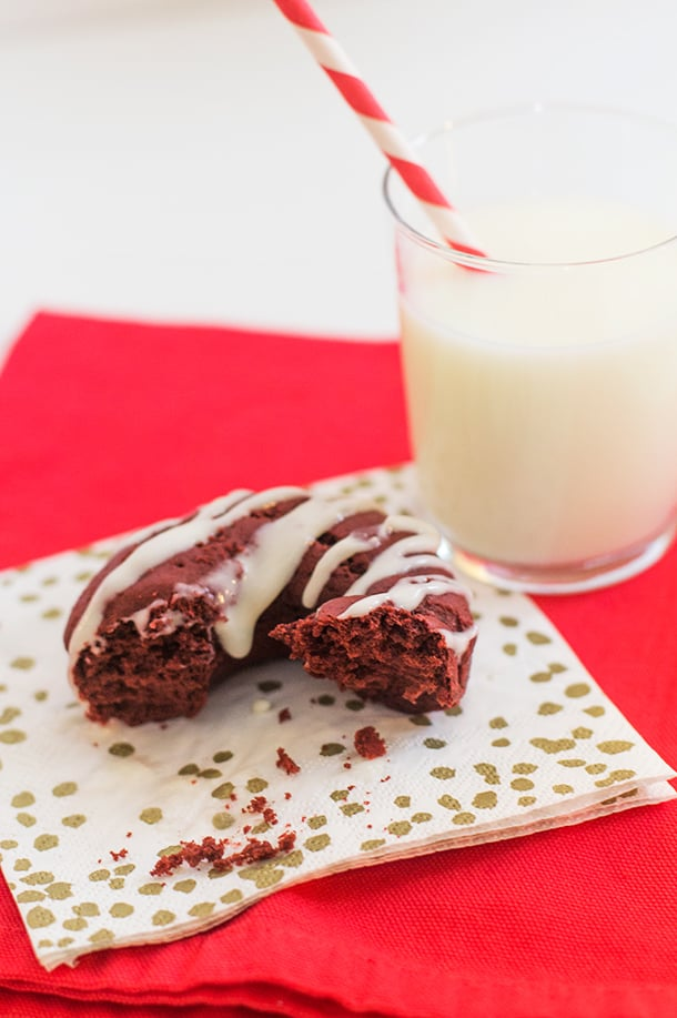 Baked Red Velvet Doughnuts With Cream Cheese Drizzle