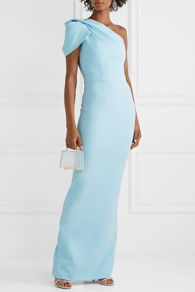 Safiyaa Kora One-Shoulder Draped Crepe Gown