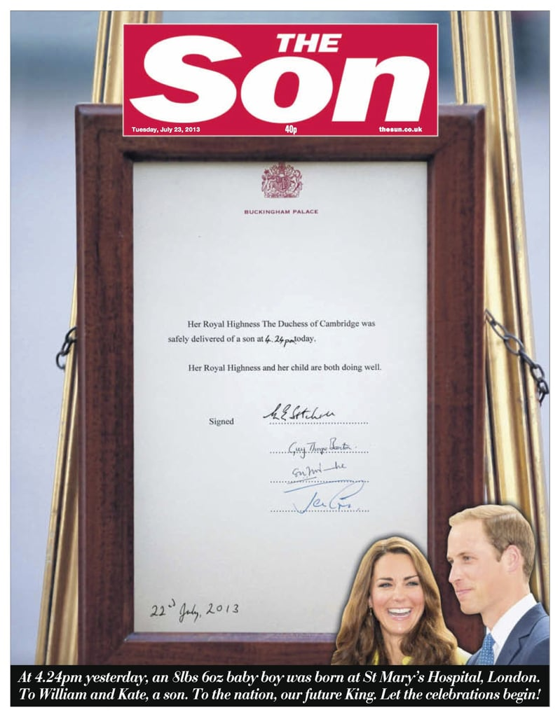 The front page of The Sun, from England, on July 23.