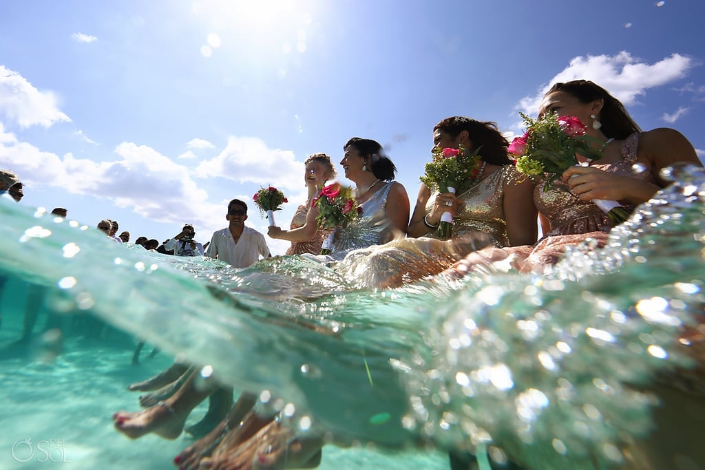 Wedding on a Sandbar in Caribbean Sea